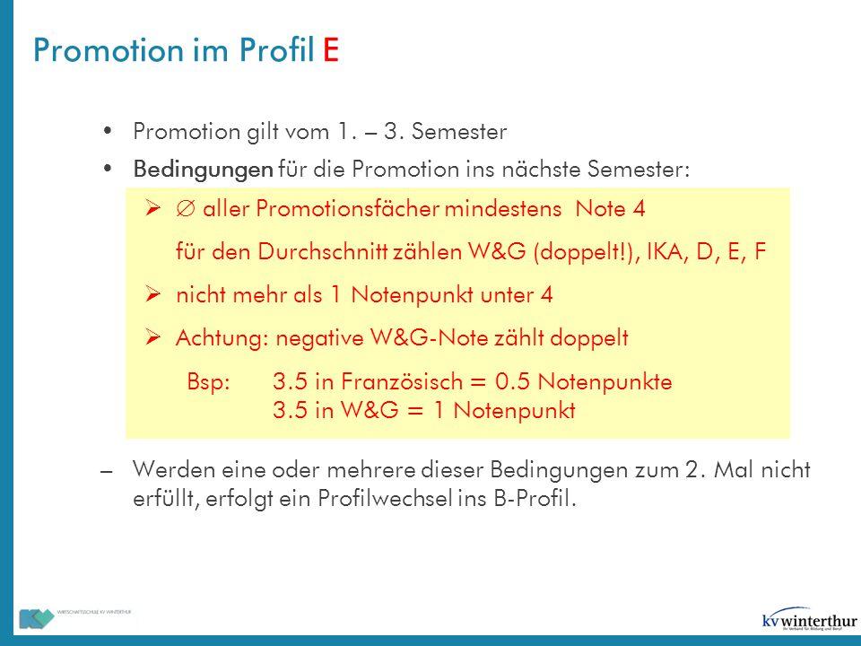 Promotion im Profil E Promotion gilt vom 1. – 3. Semester