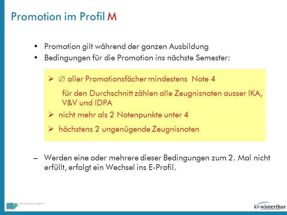 Promotion im Profil M Promotion gilt während der ganzen Ausbildung
