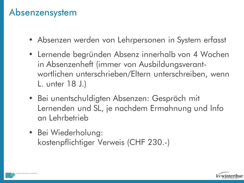 Absenzensystem Absenzen werden von Lehrpersonen in System erfasst
