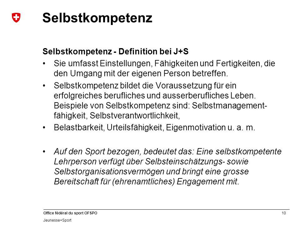 Selbstkompetenz Selbstkompetenz - Definition bei J+S