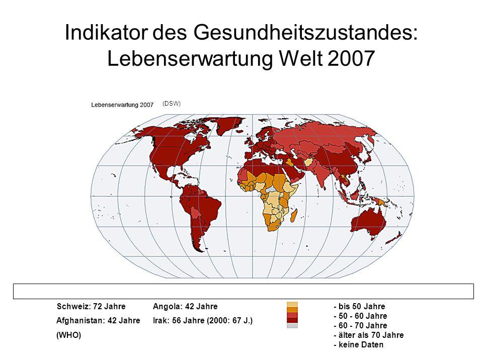 Indikator des Gesundheitszustandes: Lebenserwartung Welt 2007