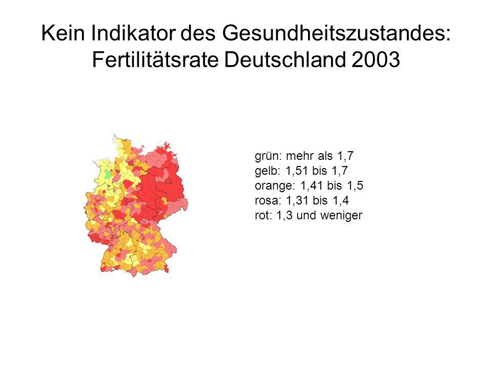 Kein Indikator des Gesundheitszustandes: Fertilitätsrate Deutschland 2003