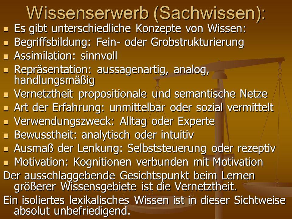 Wissenserwerb (Sachwissen):