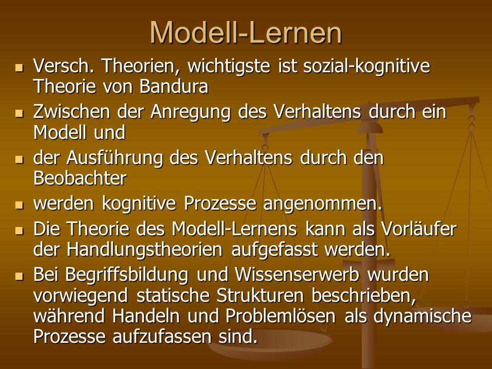 Modell-Lernen Versch. Theorien, wichtigste ist sozial-kognitive Theorie von Bandura. Zwischen der Anregung des Verhaltens durch ein Modell und.