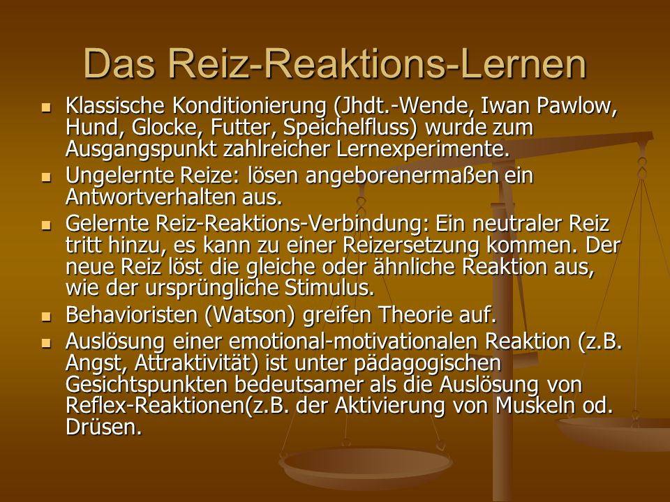 Das Reiz-Reaktions-Lernen