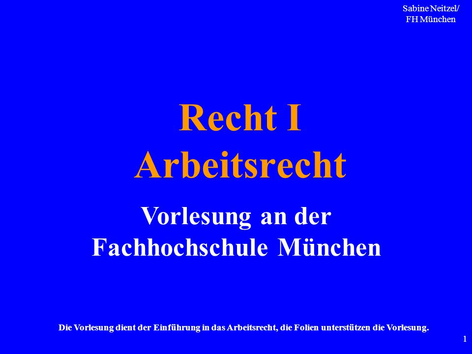 Vorlesung an der Fachhochschule München
