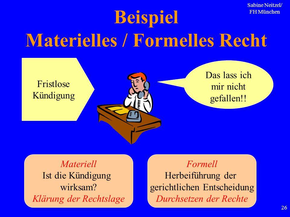 Beispiel Materielles / Formelles Recht