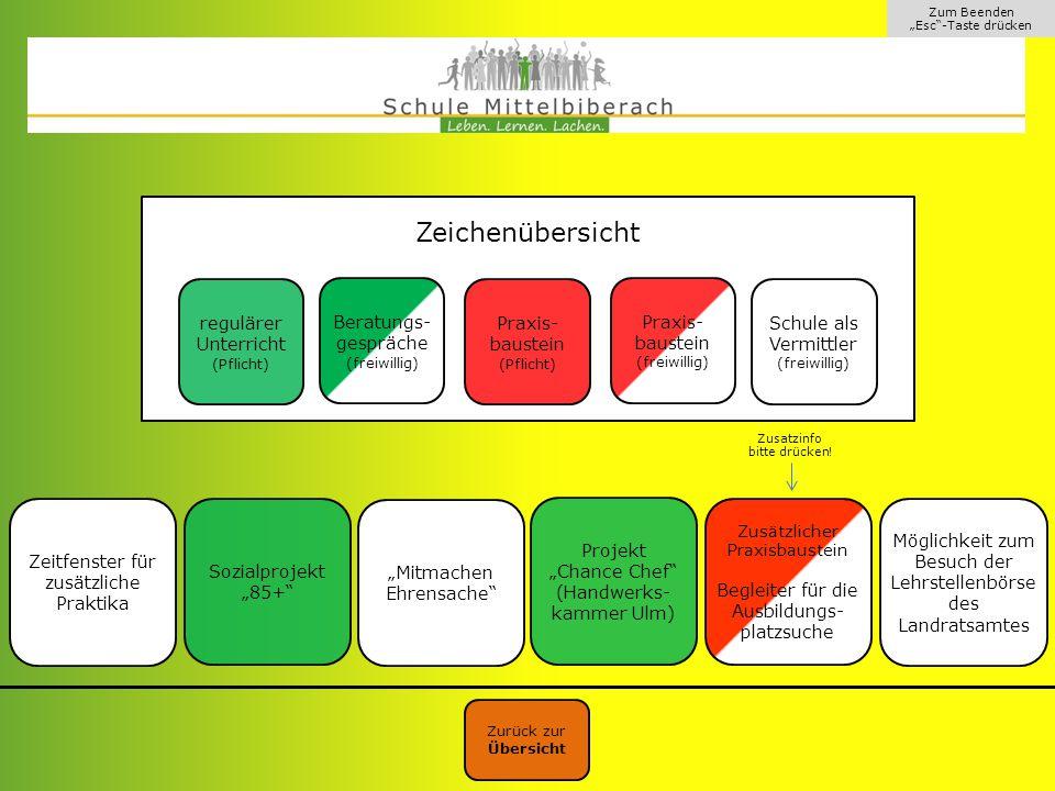 Klassenstufe 9 Zeichenübersicht regulärer Unterricht Praxis-baustein
