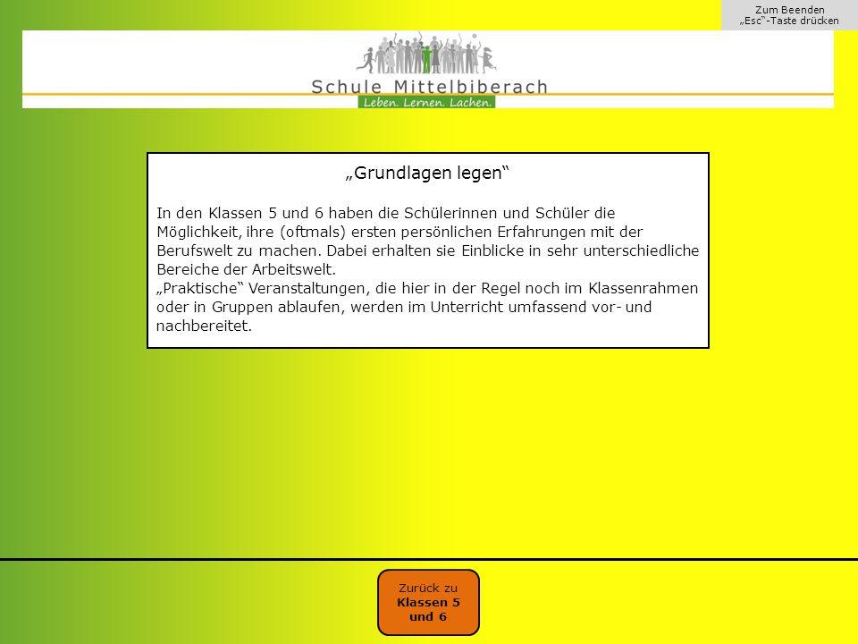 """Zum Beenden """"Esc -Taste drücken. """"Grundlagen legen"""