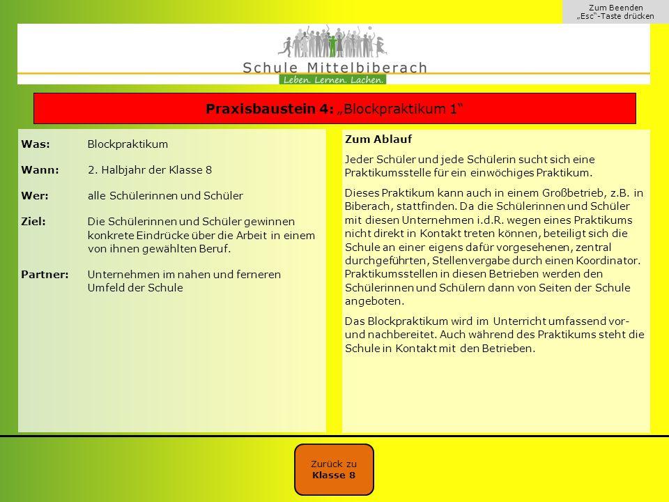 """Praxisbaustein 4: """"Blockpraktikum 1"""