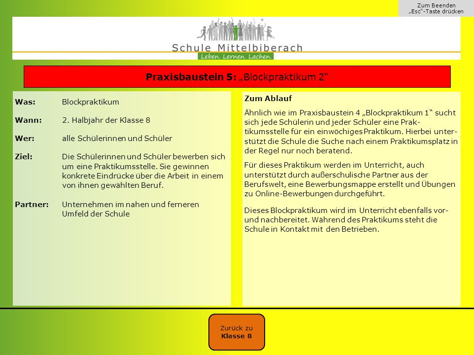 """Praxisbaustein 5: """"Blockpraktikum 2"""
