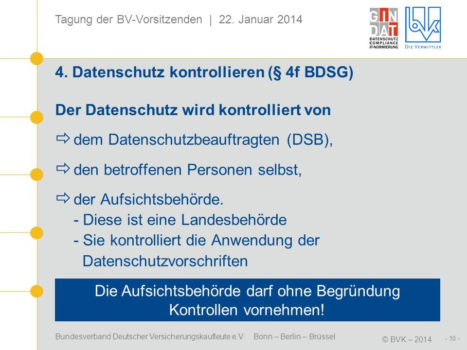 4. Datenschutz kontrollieren (§ 4f BDSG)