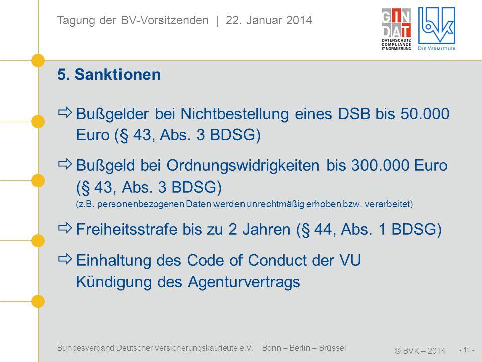 5. Sanktionen Bußgelder bei Nichtbestellung eines DSB bis 50.000 Euro (§ 43, Abs. 3 BDSG)