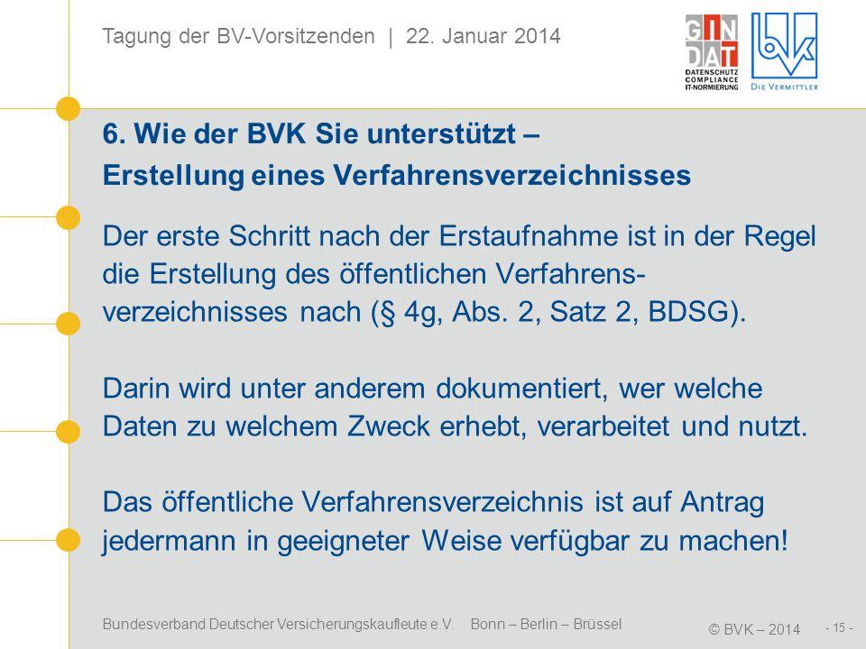 6. Wie der BVK Sie unterstützt – Erstellung eines Verfahrensverzeichnisses