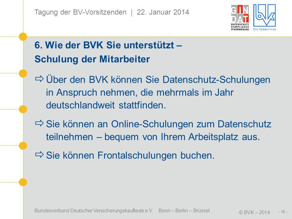 6. Wie der BVK Sie unterstützt – Schulung der Mitarbeiter