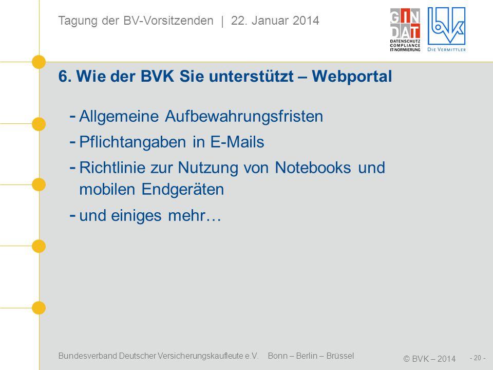 6. Wie der BVK Sie unterstützt – Webportal
