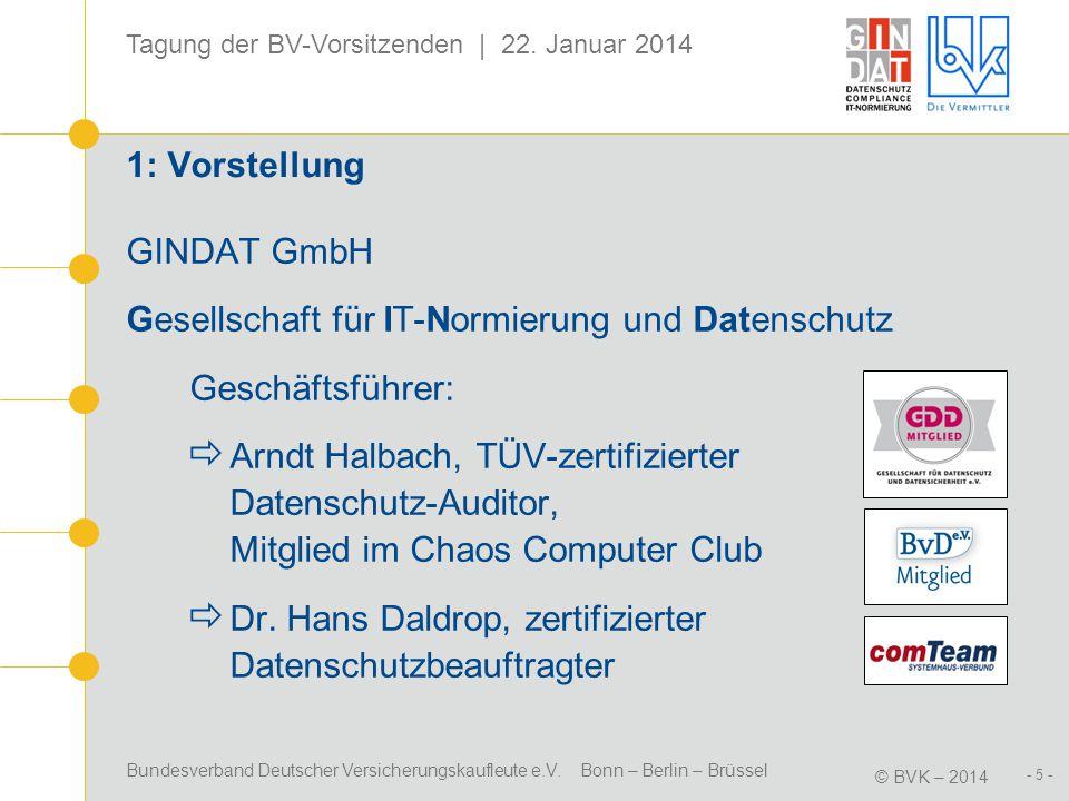 1: Vorstellung GINDAT GmbH. Gesellschaft für IT-Normierung und Datenschutz. Geschäftsführer: