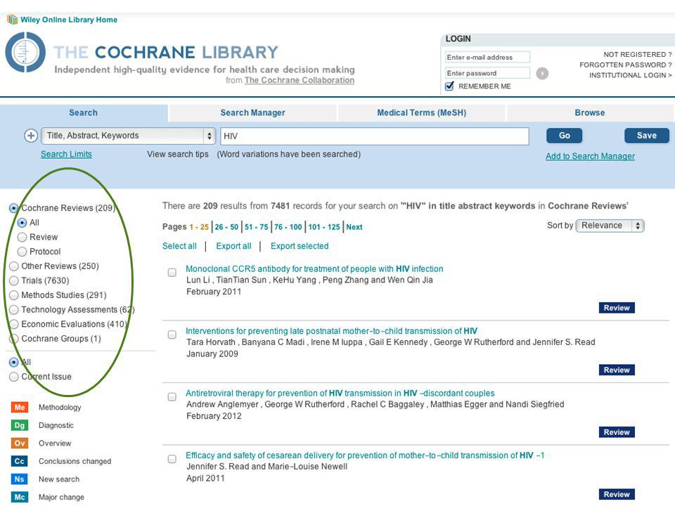 One thing you might like to learn more about are the other databases included in the Library – there's more to the Library than Cochrane reviews. It contains several other databases, including the Cochrane Central Register of Controlled Trials, containing over 700,000 records of randomised and quasi-randomised trials, as well as other databases of non-Cochrane reviews, economic evidence, research methodology studies, and more.