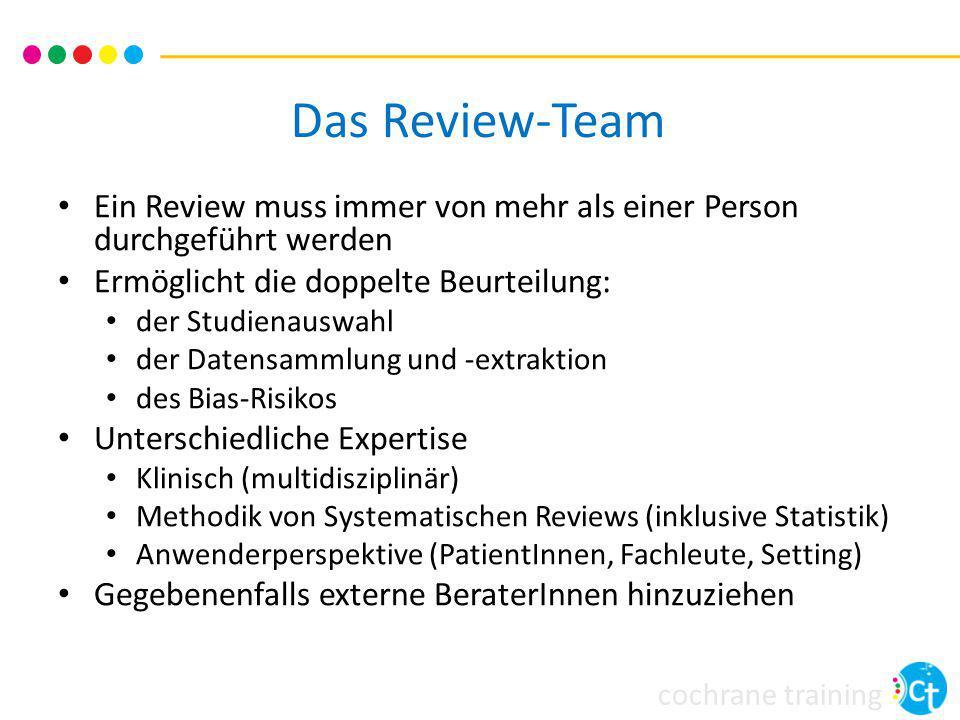 Das Review-Team Ein Review muss immer von mehr als einer Person durchgeführt werden. Ermöglicht die doppelte Beurteilung: