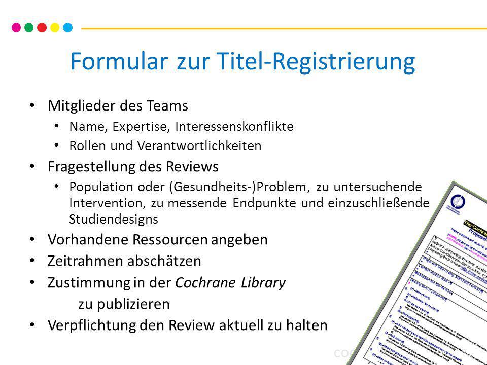 Formular zur Titel-Registrierung