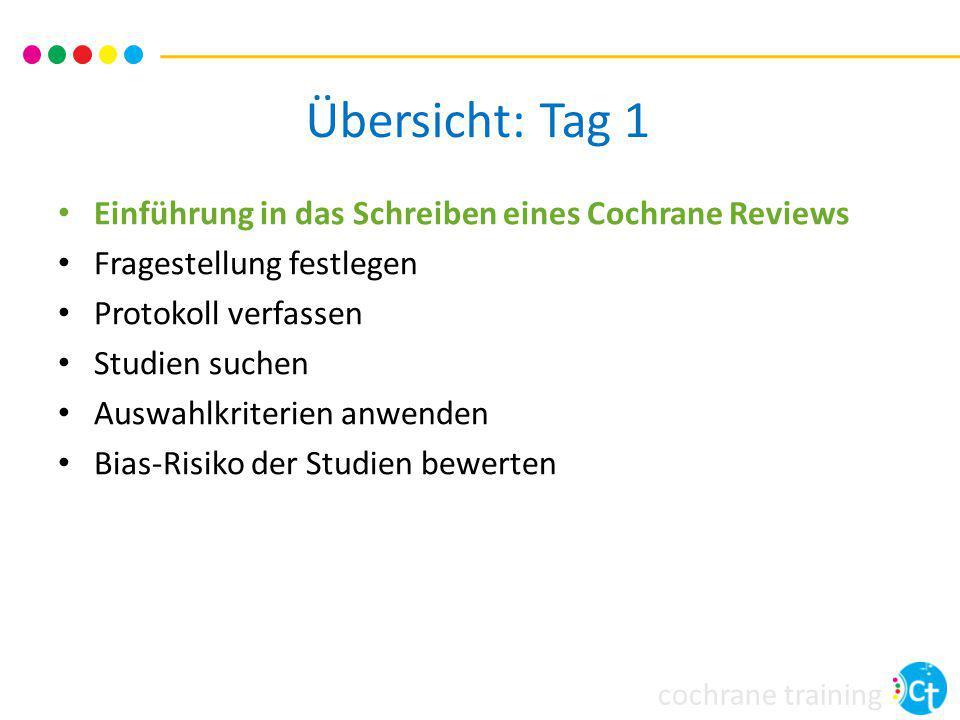 Übersicht: Tag 1 Einführung in das Schreiben eines Cochrane Reviews