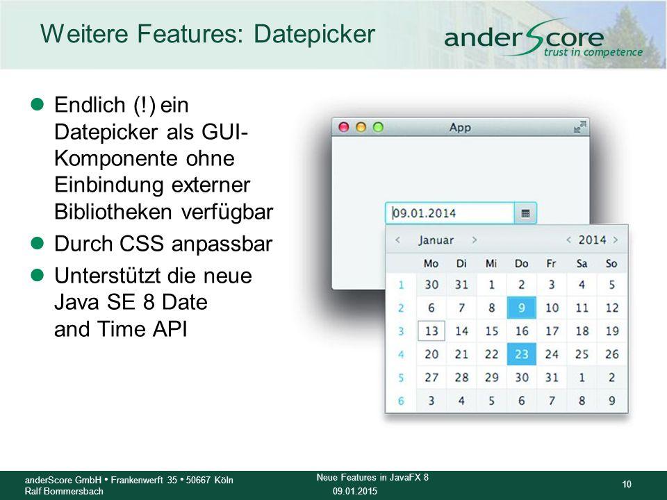 Weitere Features: Datepicker