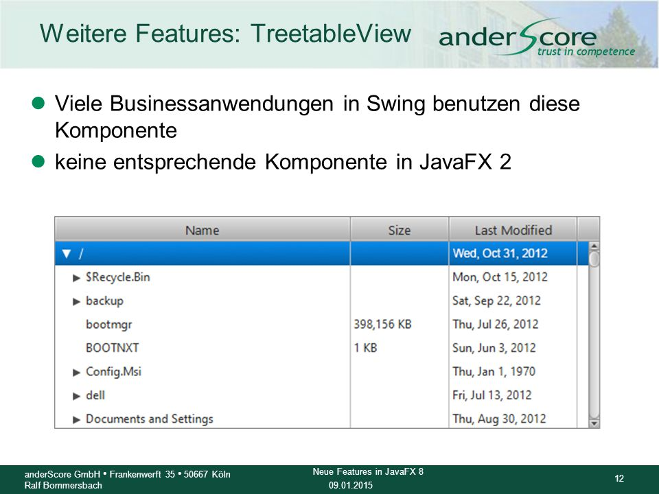 Weitere Features: TreetableView