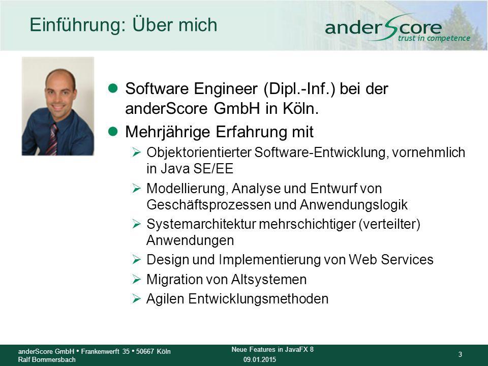 Einführung: Über mich Software Engineer (Dipl.-Inf.) bei der anderScore GmbH in Köln. Mehrjährige Erfahrung mit.