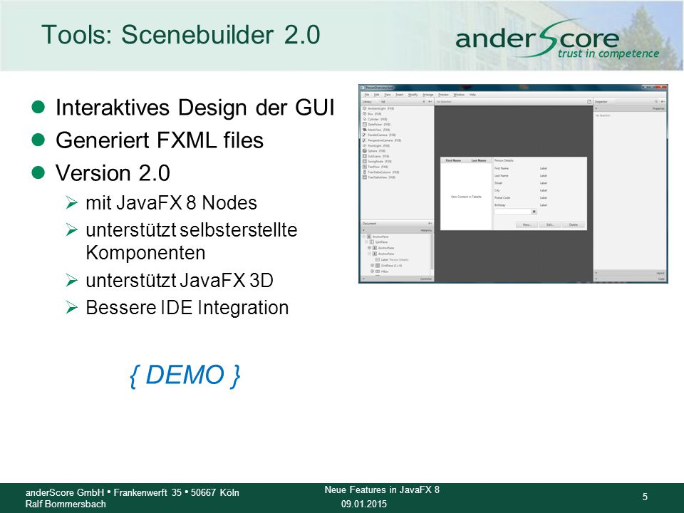 Tools: Scenebuilder 2.0 { DEMO } Interaktives Design der GUI