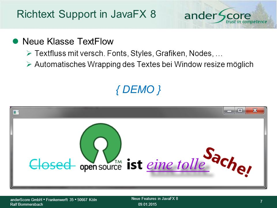 Richtext Support in JavaFX 8