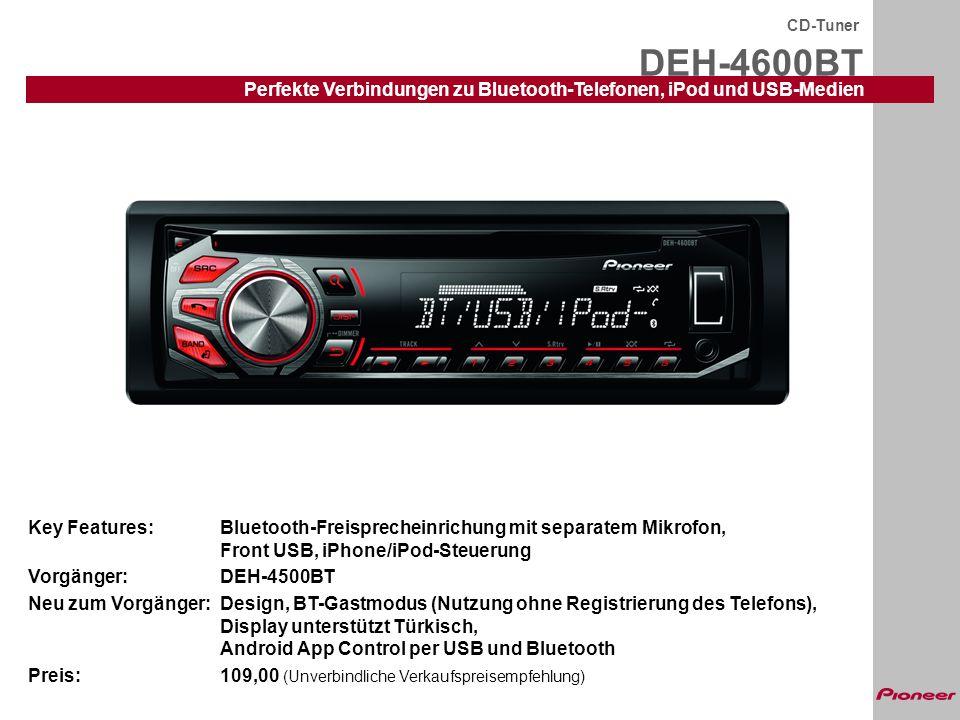 CD-Tuner DEH-4600BT. Perfekte Verbindungen zu Bluetooth-Telefonen, iPod und USB-Medien.