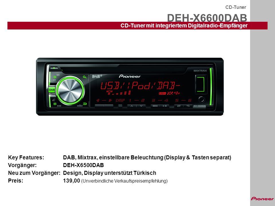 DEH-X6600DAB CD-Tuner mit integriertem Digitalradio-Empfänger