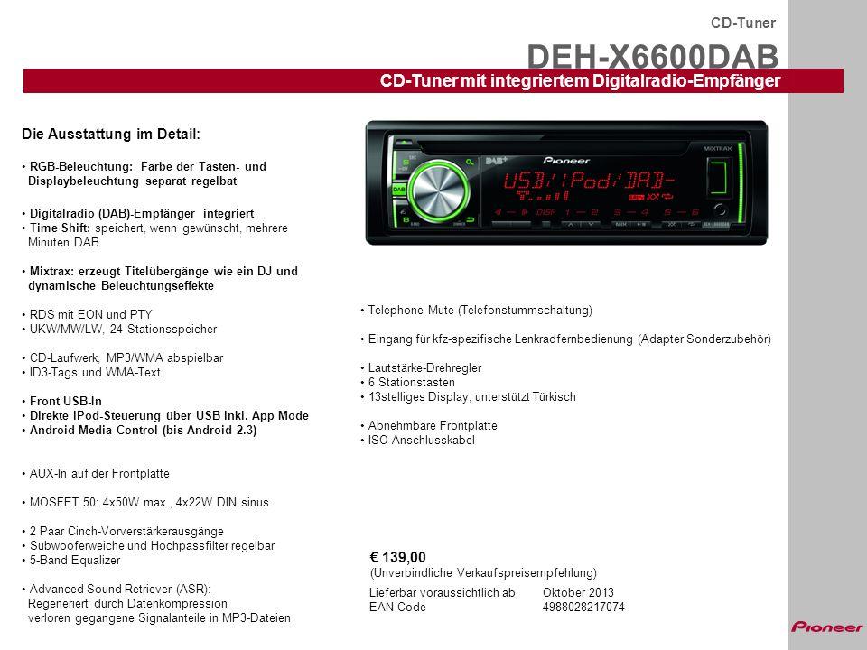 DEH-X6600DAB CD-Tuner mit integriertem Digitalradio-Empfänger CD-Tuner
