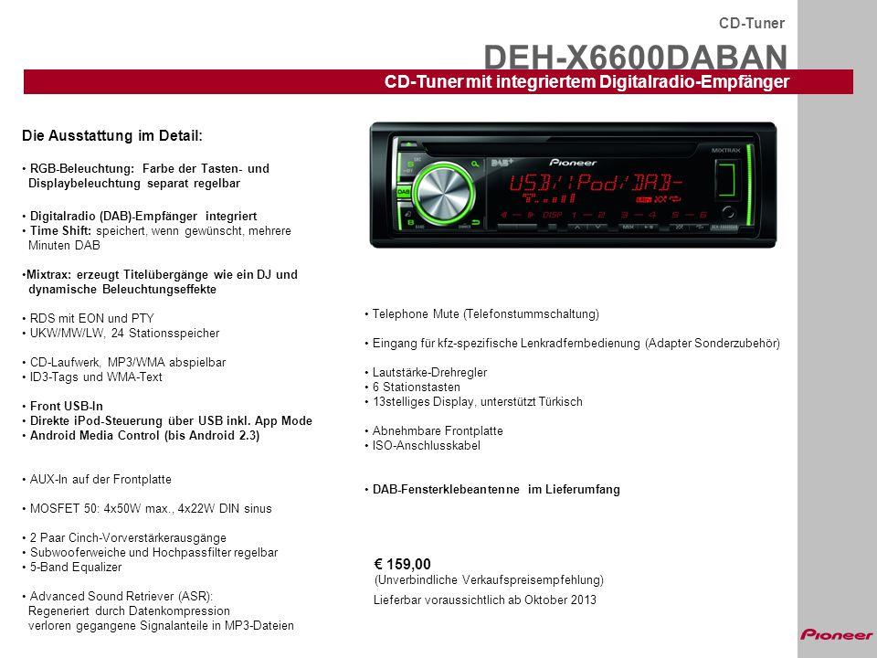 DEH-X6600DABAN CD-Tuner mit integriertem Digitalradio-Empfänger
