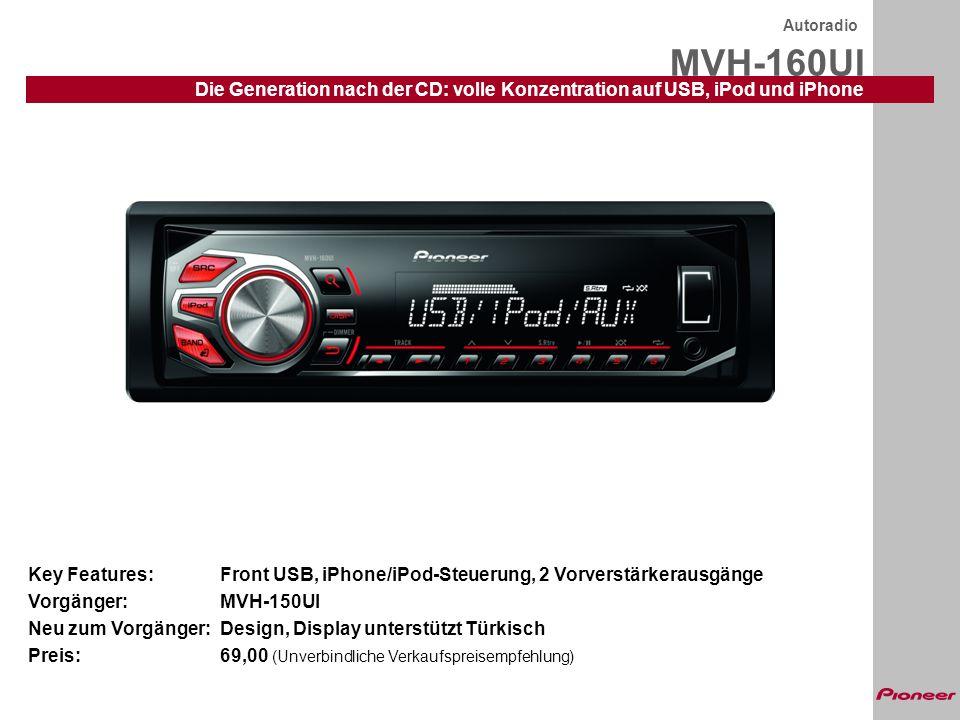 Autoradio MVH-160UI. Die Generation nach der CD: volle Konzentration auf USB, iPod und iPhone.