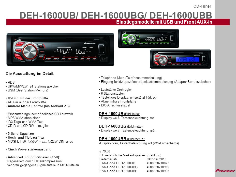 DEH-1600UB/ DEH-1600UBG/ DEH-1600UBB