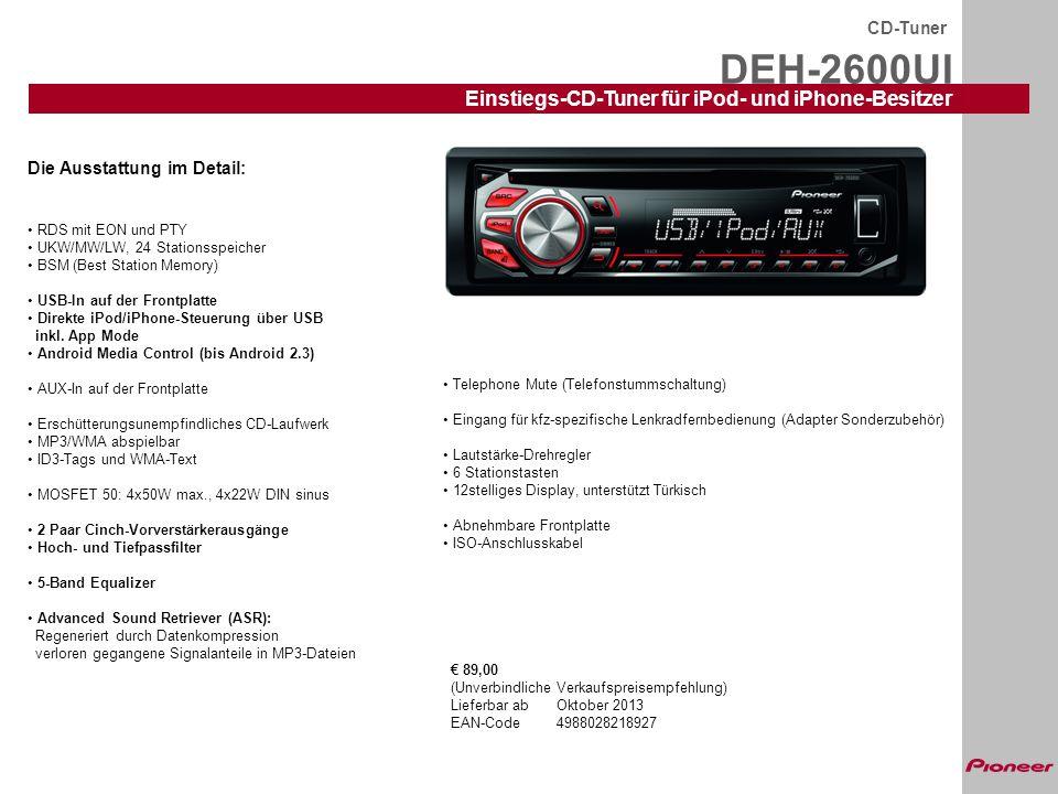 DEH-2600UI Einstiegs-CD-Tuner für iPod- und iPhone-Besitzer CD-Tuner