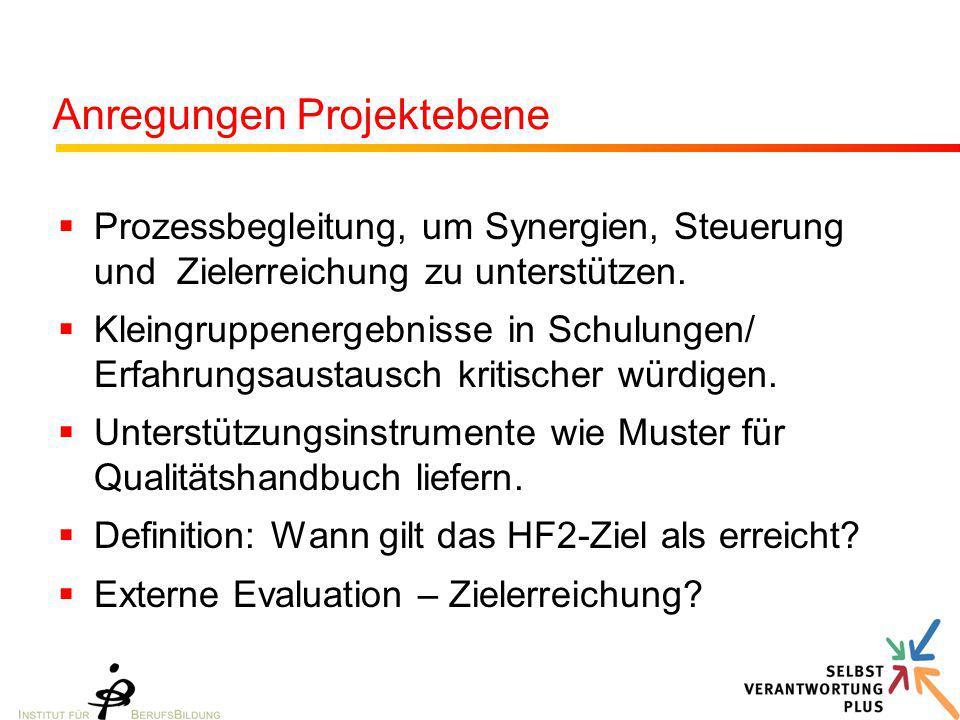 Anregungen Projektebene
