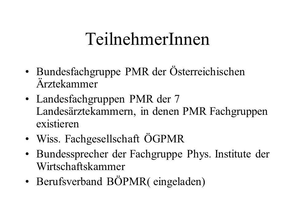 TeilnehmerInnen Bundesfachgruppe PMR der Österreichischen Ärztekammer