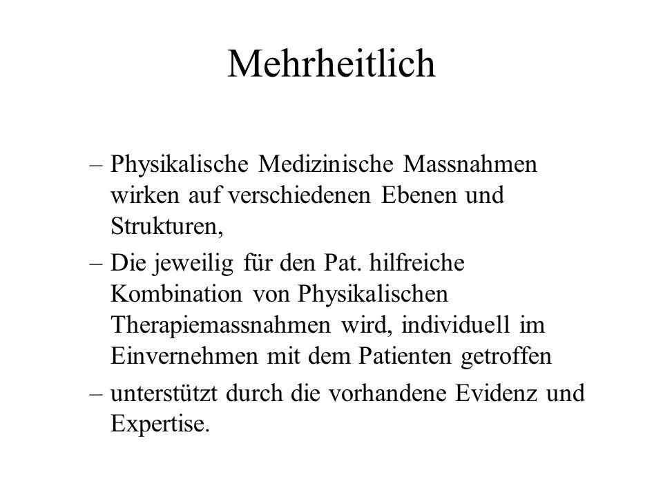 Mehrheitlich Physikalische Medizinische Massnahmen wirken auf verschiedenen Ebenen und Strukturen,