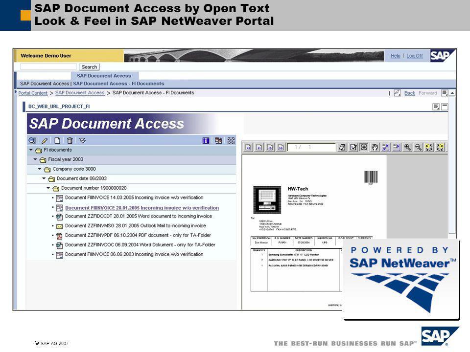 SAP Document Access by Open Text Look & Feel in SAP NetWeaver Portal