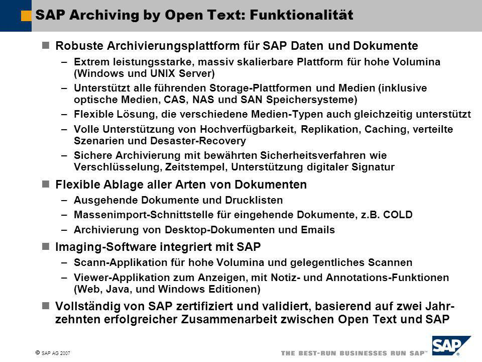 SAP Archiving by Open Text: Funktionalität