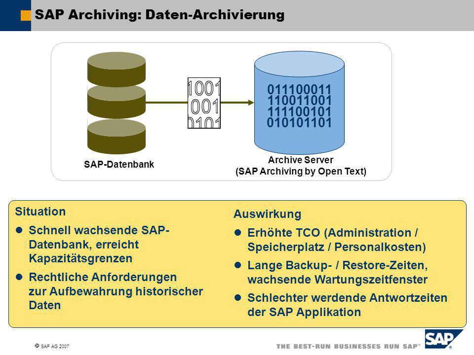 SAP Archiving: Daten-Archivierung