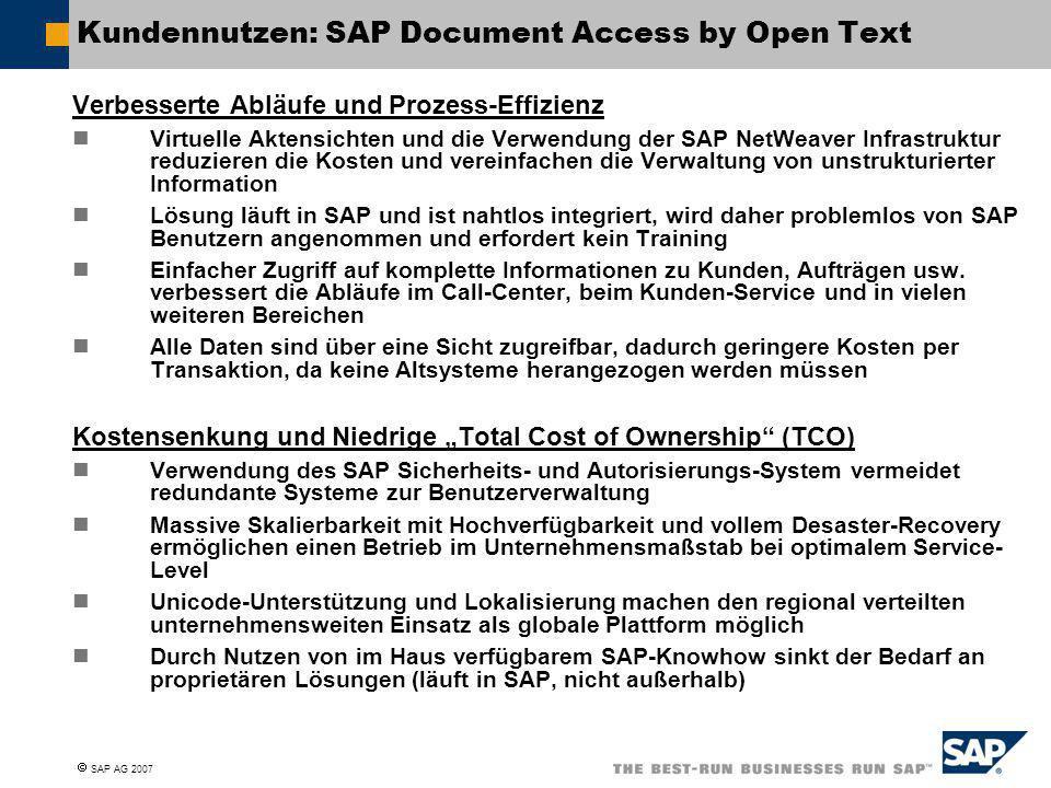 Kundennutzen: SAP Document Access by Open Text