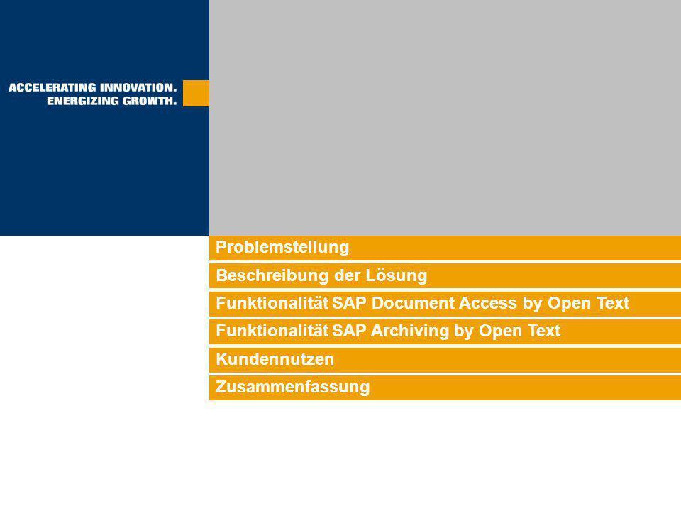 Problemstellung Beschreibung der Lösung. Funktionalität SAP Document Access by Open Text. Funktionalität SAP Archiving by Open Text.