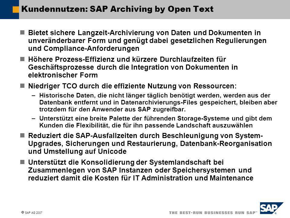 Kundennutzen: SAP Archiving by Open Text