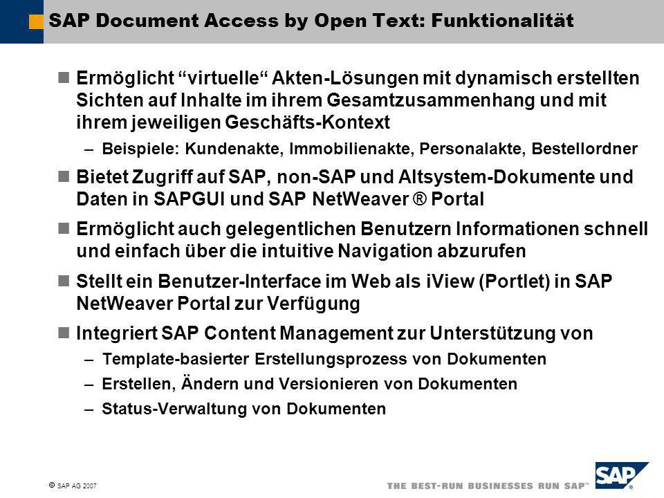 SAP Document Access by Open Text: Funktionalität
