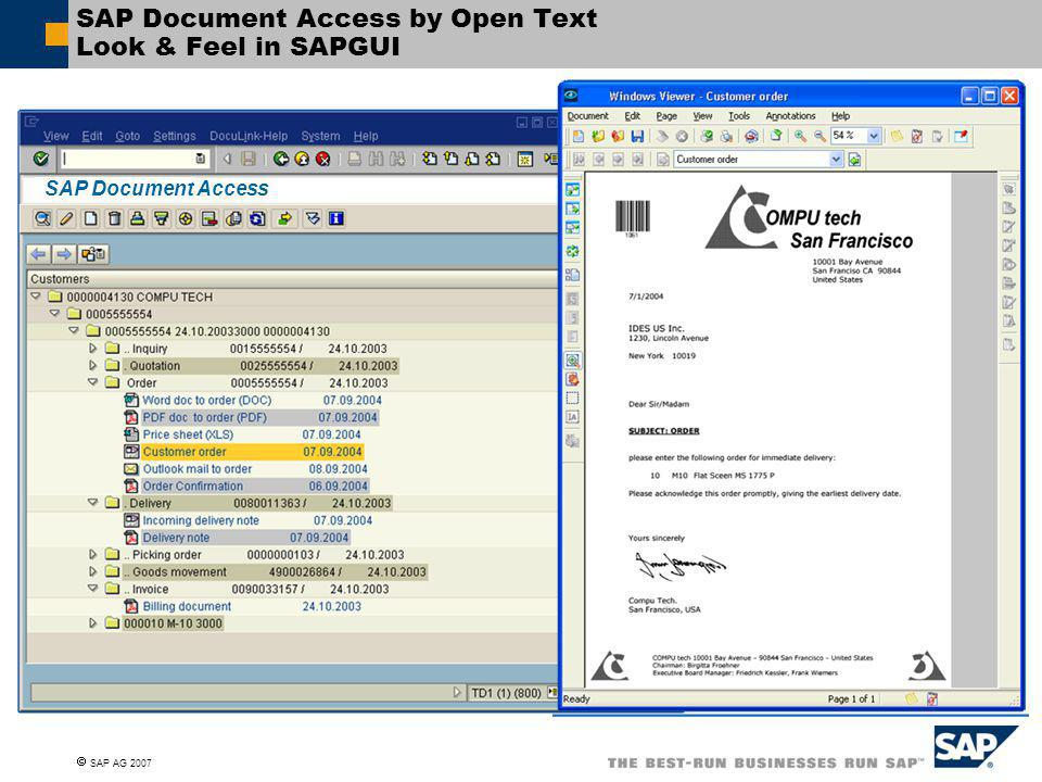 SAP Document Access by Open Text Look & Feel in SAPGUI