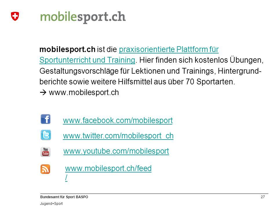 mobilesport.ch ist die praxisorientierte Plattform für Sportunterricht und Training. Hier finden sich kostenlos Übungen, Gestaltungsvorschläge für Lektionen und Trainings, Hintergrund-berichte sowie weitere Hilfsmittel aus über 70 Sportarten.  www.mobilesport.ch