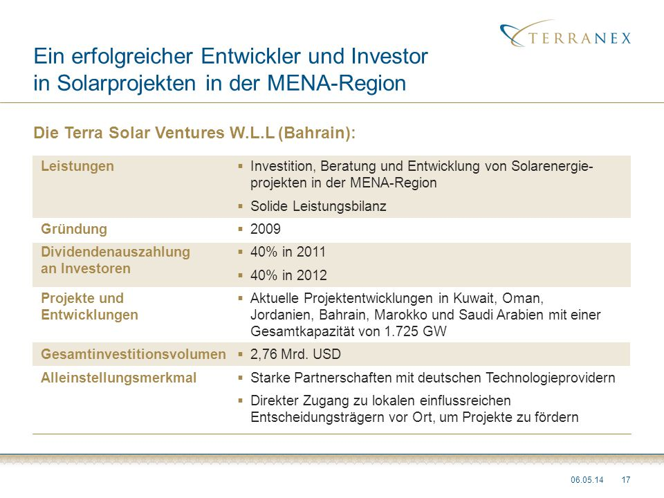 Ein erfolgreicher Entwickler und Investor in Solarprojekten in der MENA-Region